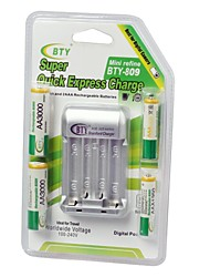 bty 809 n95 super rapide expriment US Plug aa / aaa chargeur w / 2-aaa 1350mAh et 2-aa batterie 3000mah