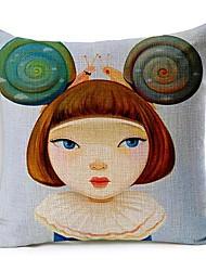 menina e caracol algodão / linho fronha decorativo