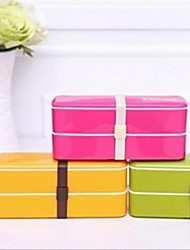Doppelstock tragbare Sushi-Box Mikrowelle Lunchpaket, Kunststoff 20 x 6 x 8,5 cm (7,9 x 2,4 x 3,3 Zoll) zufällige Farbe