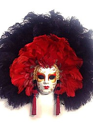 Full Face Venetian Feather Masquerade Mask for Carnival