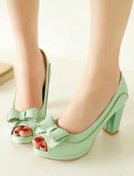 zapatos de las mujeres del dedo del pie abierto bombas de tacón grueso con zapatos bowknot más colores disponibles