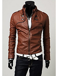 Romeo Men's Solid Color Sheath Pu Jacket