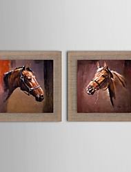 Oil Painting Modern Animal Horsehead Set of 2 Hand Painted Natural linen with Stretched Frame