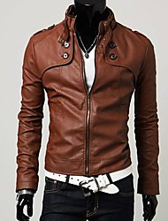 PROMOTION Men's Slim Fit Buckles Collar Leather PU Leather Jacket Coat
