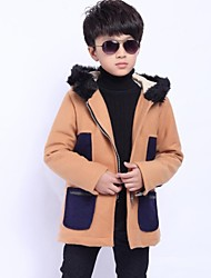 Boy's Fashion Big Pocket with Hooded Thick Coat