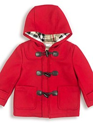 Toulejour® Girl's Front Zipper Patch Pocket with Hoodie Red Woolen Overcoat