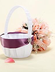 Flower Basket In White Satin With Purple Ribbon Sash Flower Girl Basket