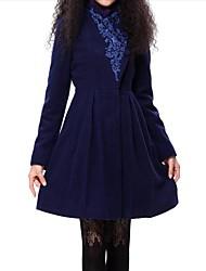 doble cuello alto bordado largo abrigo de las mujeres