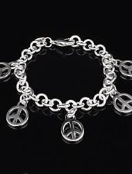 Women's Fashion Peace Silver Plated Charm Bracelet