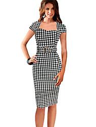 Belt Women's Check Print Dress