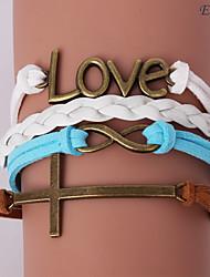 pulseras eruner®leather cruz de la aleación de múltiples capas y una infinidad de encantos pulsera hecha a mano