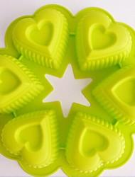 6 hoyos moldes para pasteles de forma de corazón, de silicona 25 x 5 x 1,8 cm (9,9 × 2,0 × 0,8 pulgadas)