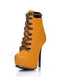 Women's Shoes Round Toe Stiletto Heel Leatherette Ankle Boots with Zipper