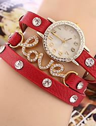 Women's Bracelet Watch Quartz Rhinestone / Imitation Diamond PU Band Charm Black / Red Brand
