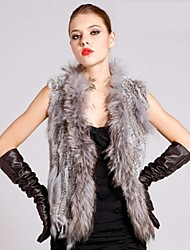Fur Vest With Sleeveless Collarless Rabbit/Raccoon Fur Party Vest(More Colors)