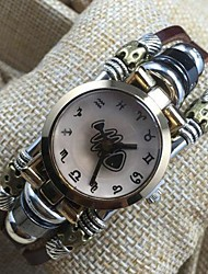 Women's High Quality Personalized Fishbone Dial Leather Quartz Movement Bracelet Watches
