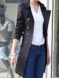 Women's Solid Black Trend Coat,Work Long Sleeve Cotton Blends Button
