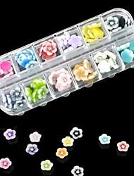60pcs 12 cores decorações arte resina diamante flor nail
