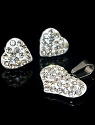 Toonykelly Honey Heart Love Stainless Steel(Necklace with Earring Stud)Jewelry Set