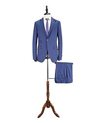 azul sólido traje corte sartorial de lana
