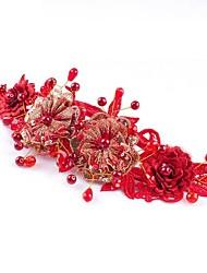estilo da liga handmade chinese-antigo vermelho com headpieces casamento borla