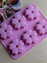 6 hoyos moldes de chocolate pastel de flores de cerezo forma de jalea de hielo, silicona 15 × 14,5 × 1,5 cm (6,0 × 5,8 × 0,6 pulgadas)