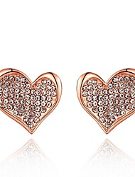 Fashion Crystal Heart Rose Gold Rose Gold-Plated Stud Earrings (Rose Gold)(1Pair)
