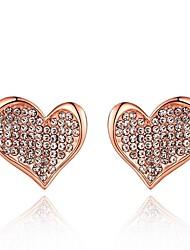 corazón de cristal de la moda rosa de oro rosa de aretes bañados en oro (oro rosa) (1 par)