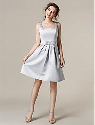 Vestido de Dama de Honor - Plata Corte A Escote Cuadrado - Hasta la Rodilla Satén