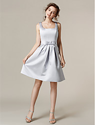 Knee-length Satin Bridesmaid Dress A-line Square Plus Size / Petite with Bow(s) / Sash / Ribbon