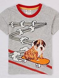 kinderkleding jongens t-shirt van katoen hond gedrukte grijze korte mouw zomer jongens tees