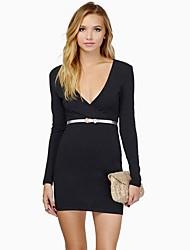 moda feminina v pescoço vestido fino (mais cores) (sem cinto)