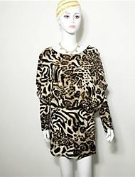 manteau manches longues des femmes lâche robe d'impression haut de léopard