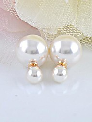 Stud Earrings Pearl Imitation Pearl White Jewelry 2pcs