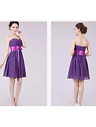 Short/Mini Bridesmaid Dress - Grape A-line / Princess Sweetheart