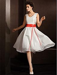 Vestido de Noiva - Marfim Trapézio Em V Longuete Tafetá