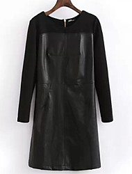 Women's Round Collar Splicing Leather Long Sleeve Dress