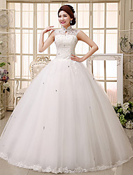 Ball Gown Wedding Dress Floor-length High Neck Lace/Tulle