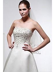 A-line Wedding Dress Court Train/Floor-length Strapless Satin Chiffon