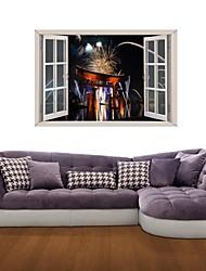 Decalcomanie adesivi murali della parete 3d, fuochi d'artificio adesivi murali festa decorazione vinile
