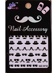 1PCS Cartoon Mustache Style Nail Art Stickers MZ Series MZ-W16
