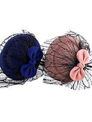 sombrero europeo con cintas para la cabeza de tela de color rosa bowknot malla para las mujeres (azul, rosa) (1 unidad)