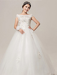 Ball Gown Wedding Dress - White Floor-length Off-the-shoulder