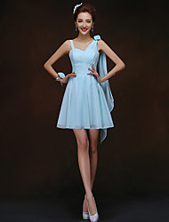 Short/Mini Bridesmaid Dress - Sky Blue Sheath/Column Spaghetti Straps