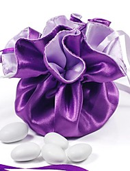 10PCS Double Faced Purple Brocade Wedding Favor Bags Drawstring Pouch for Luxury Party
