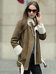 Women Lamb Fur/Faux Leather Outerwear , Fleece Lining