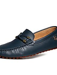 Sapatos Masculinos Mocassins Preto / Marrom / Azul Marinho Couro Casual