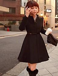 Women's Red/Black Coat , Casual Long Sleeve Wool Blends