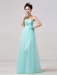 Floor-length Bridesmaid Dress - Sky Blue A-line One Shoulder