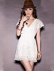 Women's V Neck Bud Silk With Short Sleeves Dresses